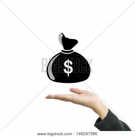 Closeup a money bag in us dollar currency on working woman hand isolated on white background in business concept with clipping path