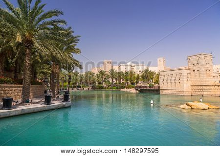 DUBAI, UAE - 1 APRIL 2014: Architecture of Madinat Jumeirah resort in Dubai, UAE. Madinat Jumeirah is 5 star resort in Dubai and the largest resort in the emirate with over 40 hectares of gardens.
