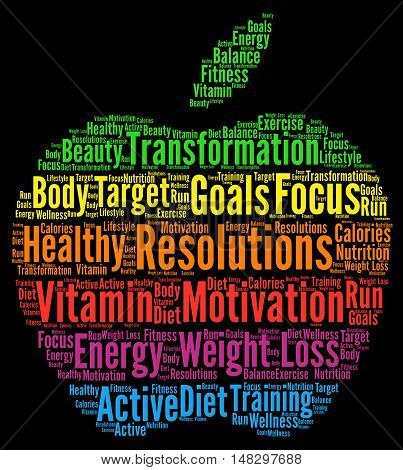 Resolutions health diet word cloud with a black background