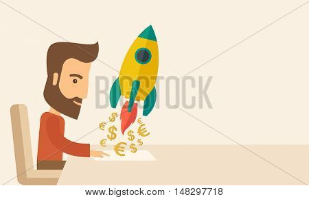 A Caucasian young man with beard sitting with those EURO and DOLLAR sign infront of him, a symbol of  starting new project. Launch a new innovation product concept. A contemporary style with pastel