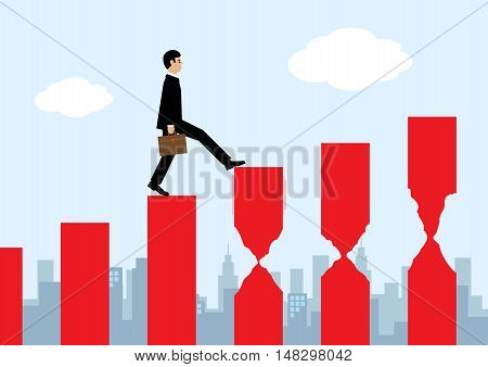 A businessman walking on a rising bar chart and about to walk on a series of eroded bars. A metaphor on financial risk that comes with a rising market.