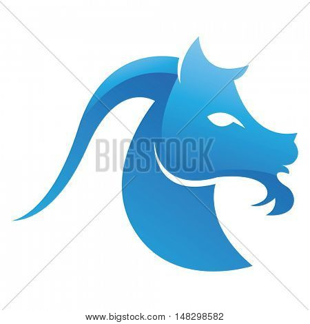 Blue glossy goat isolated on white