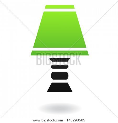 Green lampshade with black body isolated on white