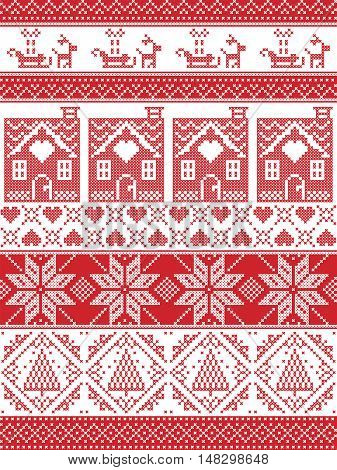 Seamless Scandinavian Textile style, inspired by Norwegian Christmas, festive winter seamless pattern in cross stitch with gingerbread house, Christmas tree, heart, reindeer, sleigh, present, ornament