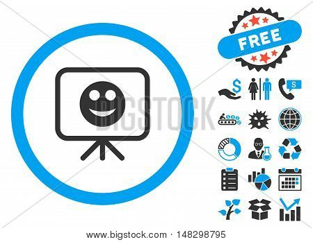 Smiley Presentation Screen icon with free bonus pictograph collection. Glyph illustration style is flat iconic bicolor symbols, blue and gray colors, white background.