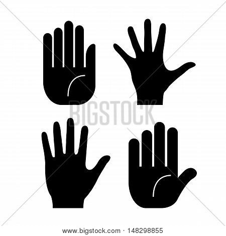 Vector hand palm icons set vector illustration isolated on white background