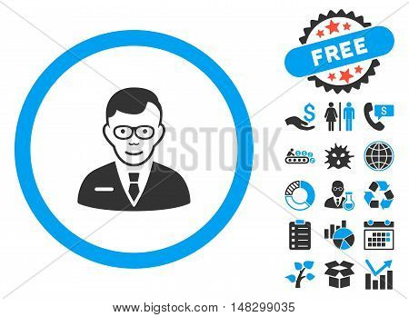 Specialist icon with free bonus pictogram. Glyph illustration style is flat iconic bicolor symbols, blue and gray colors, white background.