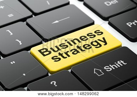 Business concept: computer keyboard with word Business Strategy, selected focus on enter button background, 3D rendering