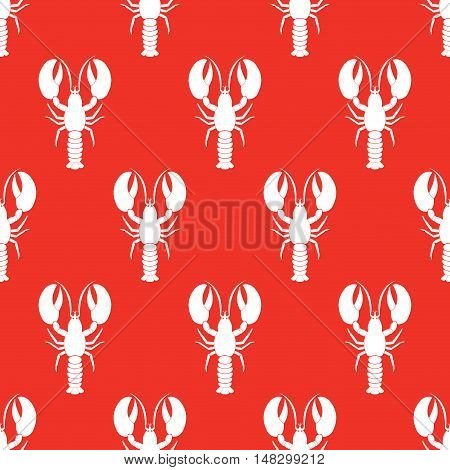 Lobster seamless pattern. Vector illustration. Seafood Catlefish