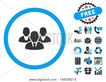 Staff pictograph with free bonus pictogram. Glyph illustration style is flat iconic bicolor symbols, blue and gray colors, white background.