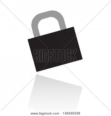 Black locked padlock isolated on white