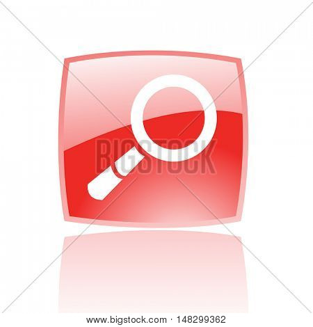 Glossy magnifier in red button isolated on white