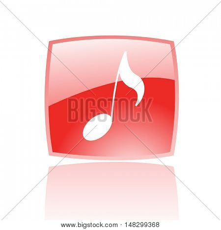 Glossy musical note in red button isolated on white