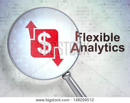 Business concept: magnifying optical glass with Finance icon and Flexible Analytics word on digital background, 3D rendering