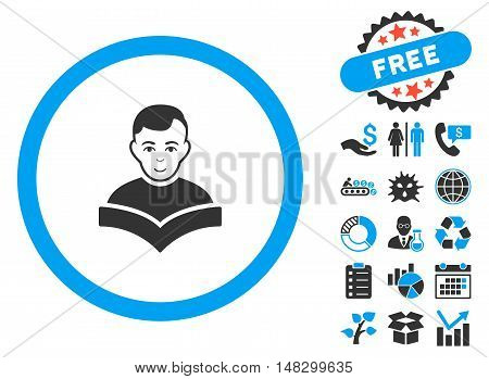 Student Study Book pictograph with free bonus design elements. Glyph illustration style is flat iconic bicolor symbols, blue and gray colors, white background.