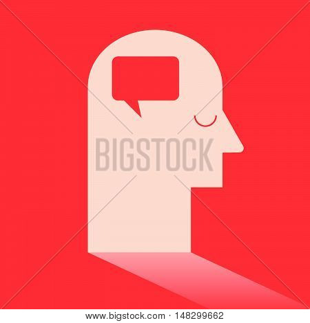 Round Rectangle Speech Bubble In Brain