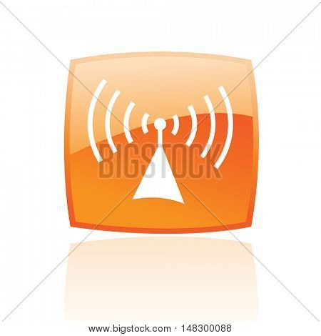 Glossy radio in orange button isolated on white