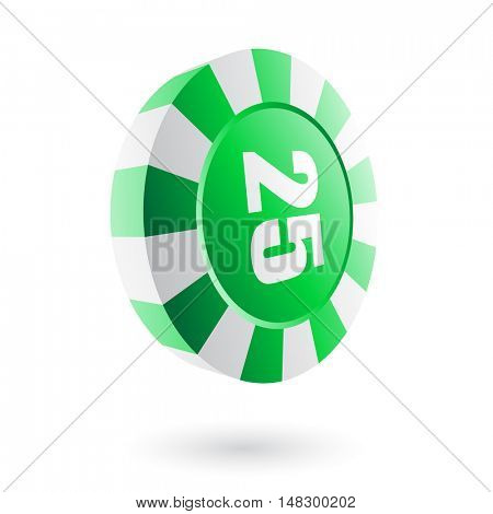 Green roulette chip isolated on white