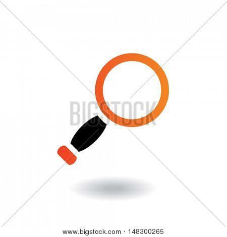 Orange and black magnifier isolated on white