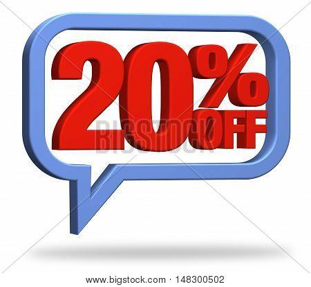 3D rendering 20% discount deduction rebate percentage