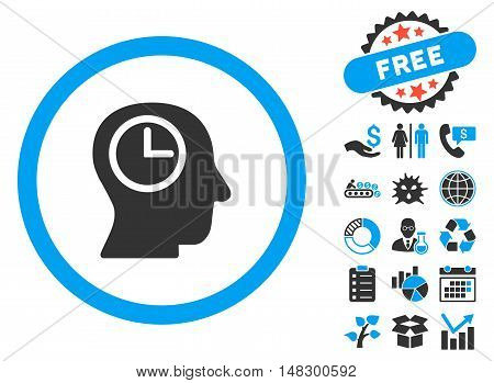 Time Manager pictograph with free bonus pictograph collection. Glyph illustration style is flat iconic bicolor symbols, blue and gray colors, white background.
