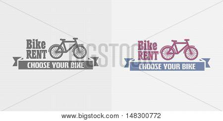 Bike Rent Vector Color And Monochrome Logo, Label Or Symbol Design Template