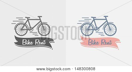 Vector Label, Logo Or Symbol Of Bike Rent Company. Color And Monochrome