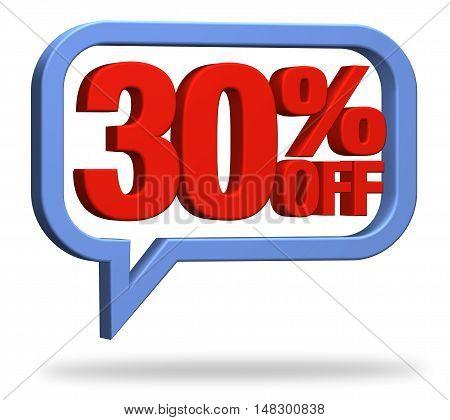 3D rendering 30% discount deduction rebate percentage