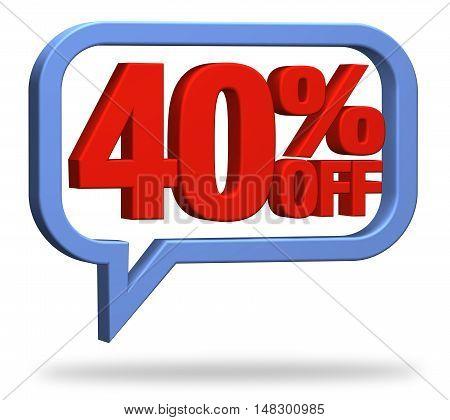 3D rendering 40% discount deduction rebate percentage