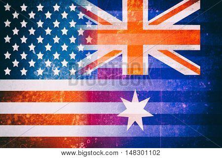 USA and Australia flags - Vintage flag concept