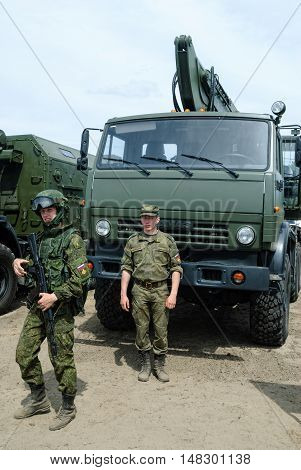 Tyumen, Russia - June 11, 2016: Race of Heroes project on the ground of the highest military and engineering school. Cadets of Tyumen highest military and engineering command school