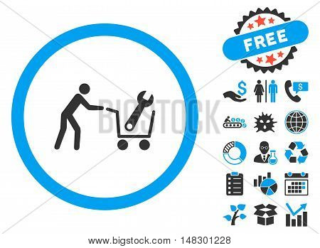 Tools Shopping icon with free bonus elements. Glyph illustration style is flat iconic bicolor symbols, blue and gray colors, white background.