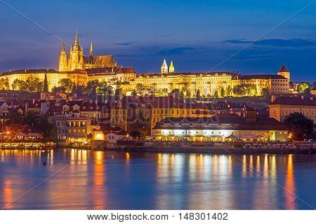 River Vltava At Night Prague Czech Republic