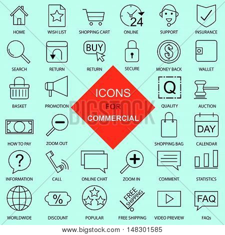 Commercial Website Thin Icons Set