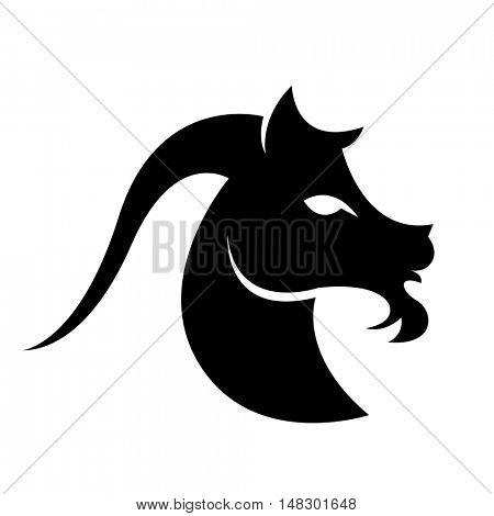 Black capricorn isolated on white