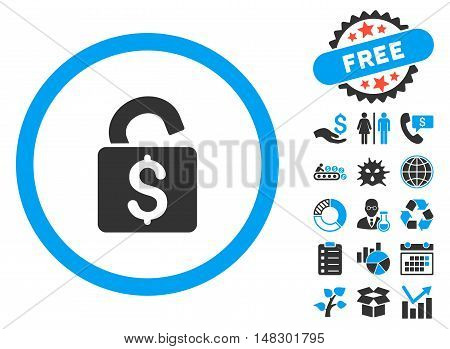Unlock Banking Lock icon with free bonus design elements. Glyph illustration style is flat iconic bicolor symbols, blue and gray colors, white background.