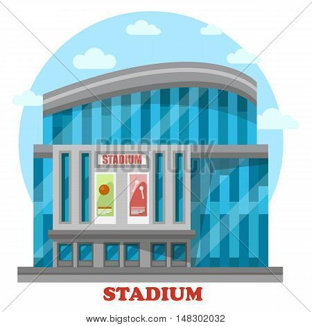 Glassware sport stadium building with posters. Structure for professional sport events and championships, sportsmen competition and crowd cheering. Construction exterior panorama view