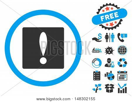 Warning pictograph with free bonus clip art. Glyph illustration style is flat iconic bicolor symbols, blue and gray colors, white background.