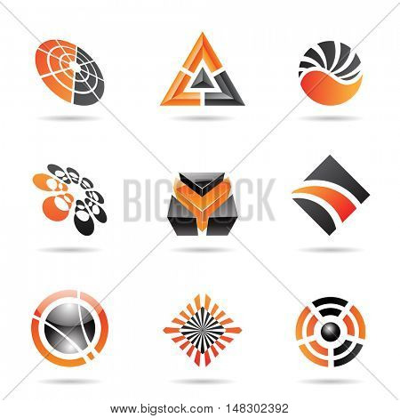 Abstract black and orange Icon Set isolated on a white background