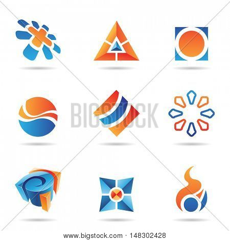 Abstract blue and orange Icon Set isolated on a white background