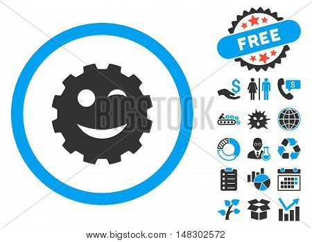 Wink Gear Smiley icon with free bonus elements. Glyph illustration style is flat iconic bicolor symbols, blue and gray colors, white background.