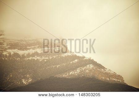 Oroel Mountain in Pyrenees, Jaca, Aragon, Huesca, Spain.