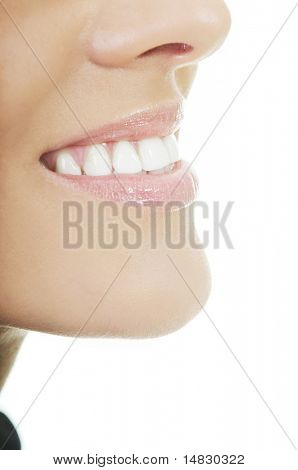 young woman with white teeth smiling representing healthy lifestyle and teeth concept