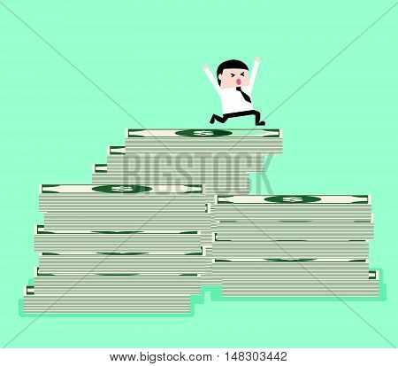 Businessman On The Top Of Bank Note Money Mountain