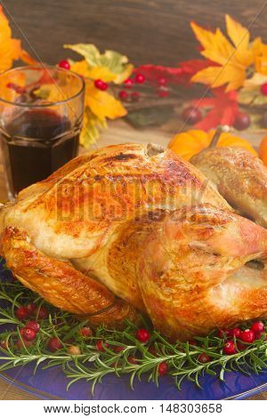 Thnaksgiving dish - turkey with pumpkins and fall leaves close up