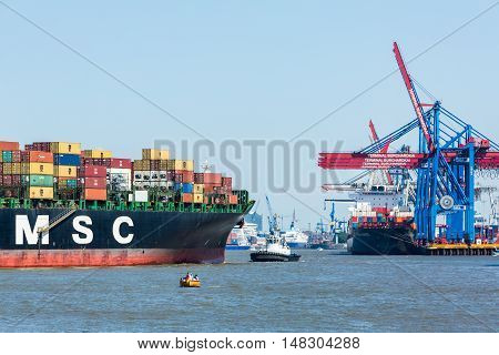 View Of A Ship In The Port Of Hamburg And The Elbe