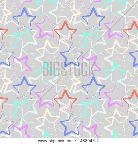Simple seamless star shape vector pattern. Seamless repeating texture. Outlined background.