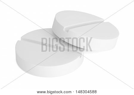 Two white pills 3D rendering isolated on white background