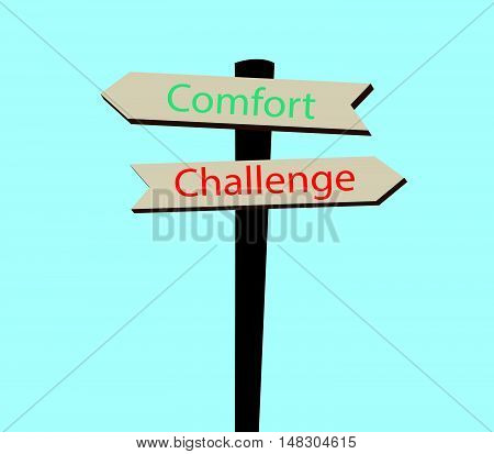 Signpost With Challenge And Comfort Text