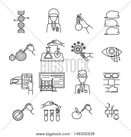 Biotechnology monochrome linear set with scientists and protective facilities chemical experiments bacteria and mice isolated vector illustration